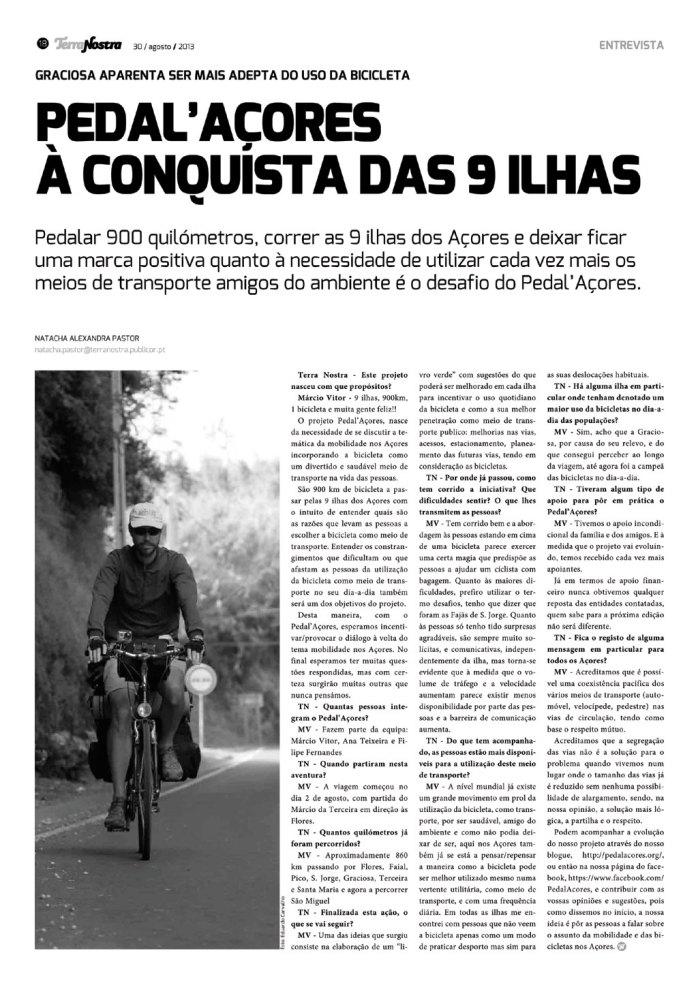 Pedal'Açores nas páginas do Jornal Terra Nostra.